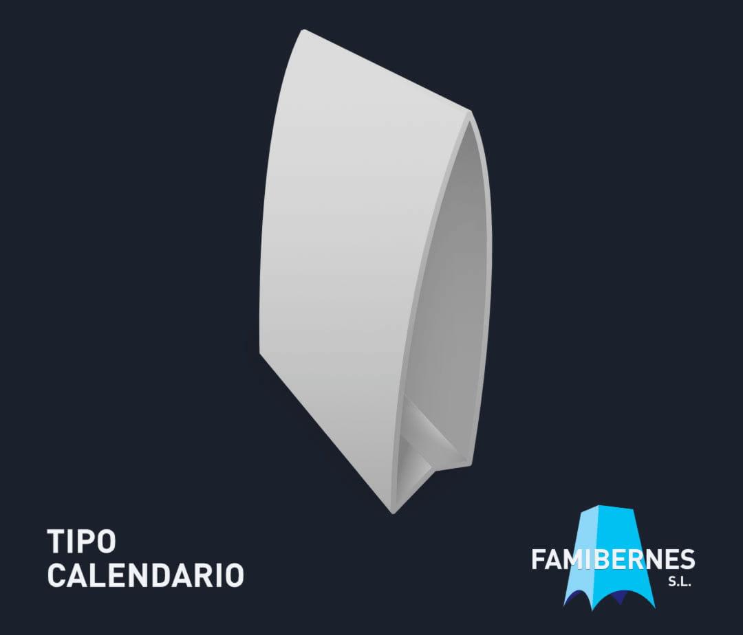 Calendario con forma triangular, donde la base está formada por cartón, acrílico o similar, plegados entre sí.